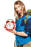 Travel time season. Man backpacker holding clock. Royalty Free Stock Photo