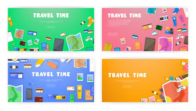 Travel time. Set of banners on travel, vacation, adventure theme.  Stock Photography