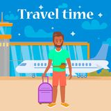 Travel Time Square Banner. Man Going to Airplane. vector illustration