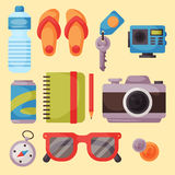 Travel time summer vacation vector accessory in flat style with traveling and tourism icons. Passenger luggage equipment modern fashion traveler casual outfit Royalty Free Stock Images