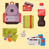 Travel time summer vacation vector accessory in flat style with traveling and tourism icons. Royalty Free Stock Image