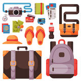 Travel time summer vacation vector accessory in flat style with traveling and tourism icons. Stock Photo