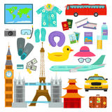 Travel time summer vacation vector symbols in flat style traveling and tourism icons accessories illustration. Passenger luggage equipment and famous europe Royalty Free Stock Photography