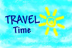 Travel time text on light blue background Royalty Free Stock Photos