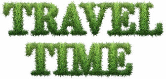 Travel Time text made of grass. Isolated on a black background. 3D illustration Royalty Free Illustration