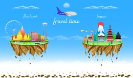 Travel time thailand and japan two city country float vector illustration eps10 stock illustration