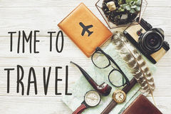 Travel. time to travel concept text sign, flat lay. map passport Stock Photo
