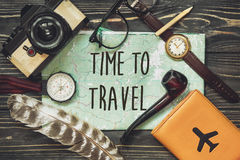 Travel. time to travel concept text sign, hipster flat lay. map Royalty Free Stock Photography