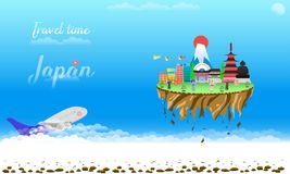 Travel time welcome to japan city country float vector illustration eps10 royalty free illustration