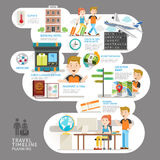 Travel timeline planning element. Vector illustration. Can be used for workflow layout, banner, number options, step up options, web design, diagram Stock Images