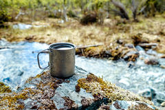 Travel titanium cup Royalty Free Stock Images