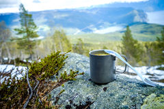 Travel titanium cup Royalty Free Stock Image