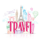 Travel Title Concept Design Background of Line Drawing Royalty Free Stock Photos