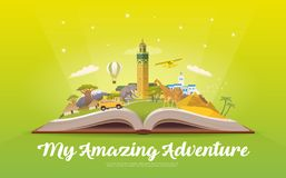 Travel to Africa. Open book with landmarks. Stock Photography