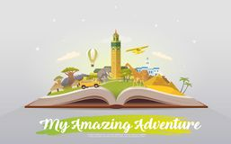 Travel to Africa. Open book with landmarks. Royalty Free Stock Photography