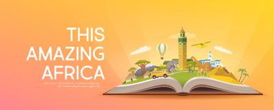 Travel to Africa. Open book with landmarks. Stock Photos