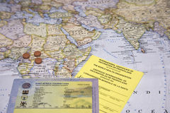 Travel to Africa, tourism visa and map Stock Images