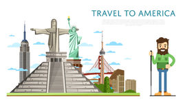 Travel to America banner with famous attractions Stock Photography