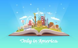 Travel to America. Open book with landmarks. Royalty Free Stock Photography