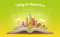 Travel to America. Open book with landmarks. Stock Photos