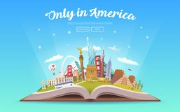 Travel to America. Open book with landmarks. Stock Images
