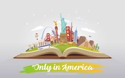 Travel to America. Open book with landmarks. Stock Photo