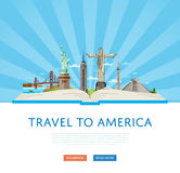 Travel to America poster with famous attractions. Travel to America poster with Empire State Building, Statue of Liberty and others famous architectural Royalty Free Stock Image