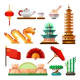 Travel to Asia, China icons and isolated design elements set. Vector Chinese culture symbols, landmarks and food stock illustration