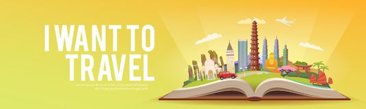 Travel to Asia. Road trip. Tourism. Open book with landmarks. Asia Travel Guide. Advertising web illustration. Summer vacation. Travelling banner. Modern flat Royalty Free Stock Images