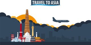 Travel to Asia. Travel and Tourism banner. Clouds and sun with a vector illustration