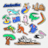 Travel to Australia Doodle. Australian Stickers, Badges and Patches with Map, Animals and Architecture. Vector illustration vector illustration