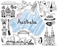 Travel to Australia doodle drawing icon. With people, culture, costume, landmark and cuisine tourism concept in isolated background, create by vector Royalty Free Stock Images
