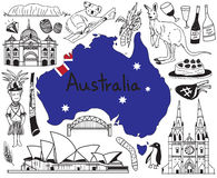 Travel to Australia doodle drawing icon. With people, culture, costume, landmark and cuisine tourism concept in isolated background Royalty Free Stock Images