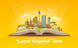 Travel to Australia. Open book with landmarks. Royalty Free Stock Image