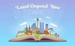 Travel to Australia. Open book with landmarks. Stock Photo