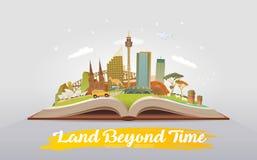 Travel to Australia. Open book with landmarks. Royalty Free Stock Photos