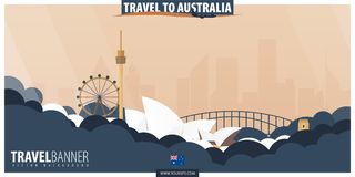 Travel to Australia. Travel and Tourism poster. Vector flat illustration. stock illustration