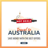 Travel to Australia. Travel Template Banners for Social Media. Hot Deals. Best Offers Royalty Free Stock Photo
