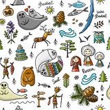 Travel to Baikal, Russia. Seamless pattern for your design Royalty Free Stock Images