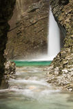 Travel to beautiful waterfall kozjak hidden in canyon, julian alps, slovenia Royalty Free Stock Image