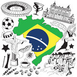 Travel to Brazil doodle drawing icon. Doodle with culture, costume, landmark and cuisine of Brazil tourism concept Royalty Free Stock Photos