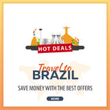 Travel to Brazil. Travel Template Banners for Social Media. Hot Deals. Best Offers Royalty Free Stock Photography