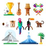 Travel to Brazil vector icons and design elements. Brazilian nat. Ional symbols and landmarks flat illustration stock illustration