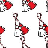 Travel to Bulgaria Bulgarian symbol red and white tassels seamless pattern vector. Martenitsa national colors endless texture Baba marta holiday spring vector illustration