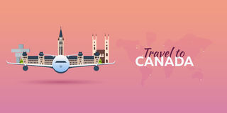 Travel to Canada. Airplane with Attractions. Travel  banners. Flat style. Royalty Free Stock Photography