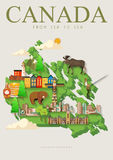 Travel to Canada. Canadian vector illustration with green map. Retro style. Travel postcard. Stock Photography