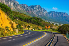 Travel to Cape of Good Hope. Travel to South Africa. Scenic highway on the Cape of Good Hope in the Atlantic. The concept of active tourism and recreation Stock Photography