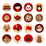 Travel to China. Collection of icons with cultural symbols. stock illustration