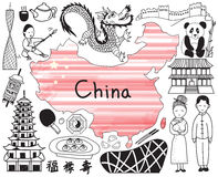 Travel To China Doodle Drawing Icon Royalty Free Stock Photography