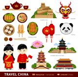 Travel to China. Vector flat illustration. Travel to China. Set of icons of chinese architecture, food, traditional costumes, people, national cultural symbols royalty free illustration
